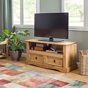 Mews Corona 2 Drawer Flat Screen TV Unit, Mexican Pine