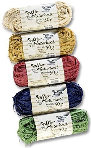 folia 901009 - Raffia Naturbast, 5 Bündel je 50 g, farbig sortiert