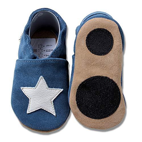 (HOBEA-Germany Baby Lauflernschuhe Sterne mit Anti-Rutsch-Pads, Kinder Hausschuhe, Lederschuhe, Design: blau mit weißem Stern, Größe 24/25 (24-30 Mon))