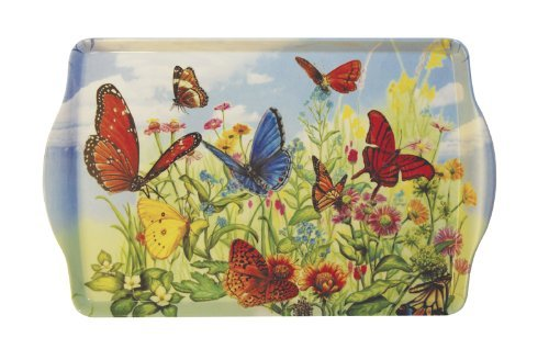Butterfly Garden Handled Melamine Serving Tray by SBF Gifts - Butterfly Garden Tray
