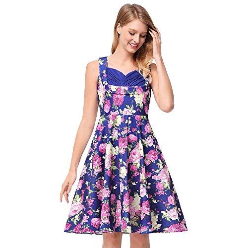 kivie Stunning Floral Printed 50s Style Dress A Line Hepburn Vintage Dress (W00831-royal Blue, XL)