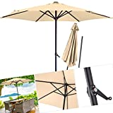 Kesser® Sonnenschirm ✔ Alu ✔ Ø 270cm ✔ Kurbelsonnenschirm Gartenschirm Ampelschirm 2,7m ✔Wasserabweisende Bespannung - Sonnenschirm Schirm Gartenschirm Marktschirm