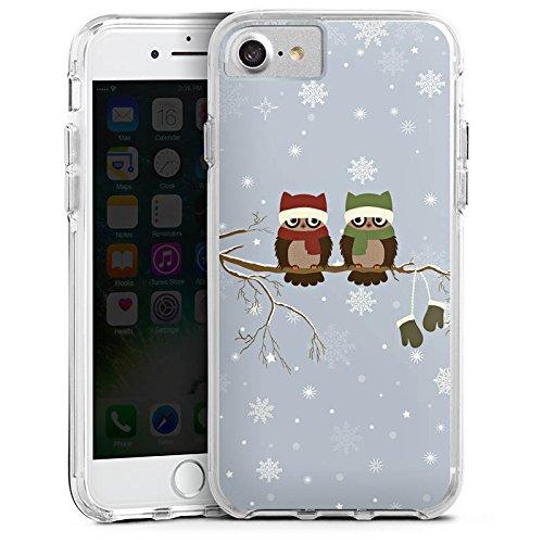Apple iPhone 8 Bumper Hülle Bumper Case Glitzer Hülle Owl Eule Uhu Bumper Case transparent