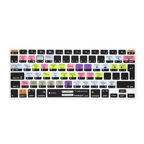 MiNGFi OSX Tastaturkurzbefehle Shortcuts Englisch QWERTY Tastatur Silikon Schutz Abdeckung für MacBook Pro 13, 15, 17 Air 13 Zoll / Wireless Keyboard EU/ISO/DE Keyboard Layout Silicone Cover