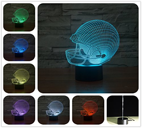 DowBier 3D Illusion Multi Farben USB Schlafen Nachtlicht Schreibtischlampe Raumdekoration (Football helm)