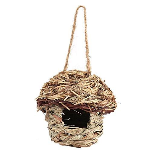Handgemachte Stroh Vogelnest Käfig Haus Brut Zucht Höhle in 3 Größe für Papageien Kanarienvogel oder Nymphensittich oder andere Vögel(S)