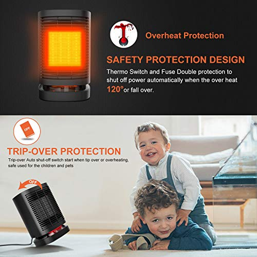 51rFrlTmgFL. SS500  - KKCITE Portable Electric Ceramic Space Heaters, 2 in1 2SPersonal Heater Fan with Auto Oscillating Hot & Cool Mode, Tip-Over & Over-Heat Protection 950W with Worldwide Adapters