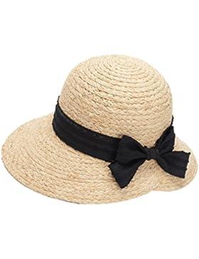 LINNUO Sombrero de Playa Para Sol Gorro Ala Ancha Protector Solar Visera Sombrero de Paja Verano Para Mujer