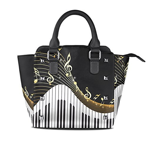 70ff3a7b9497 Use4 Women's Gold Music Note Piano Black Rivet PU Leather Tote Bag Shoulder  Bag Purse