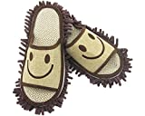 YL Story Mens Smile Face Microfiber Dust Mop Slippers Detachable Mopping Shoes Floor Cleaner for Bathroom Office Kitchen Size 40-42 Brown