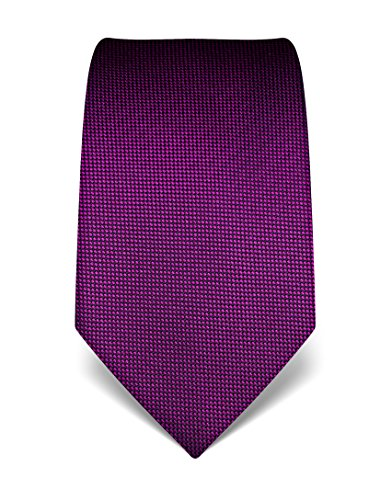 Vincenzo Boretti Herren Krawatte reine Seide strukturiert edel Männer-Design gebunden zum Hemd mit Anzug für Business Hochzeit 8 cm schmal/breit magenta