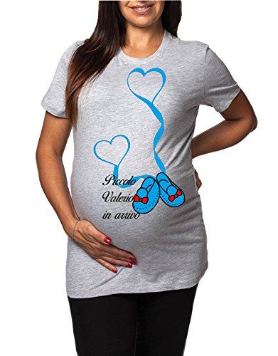 Tshirt lunga da donna ideale per il premaman maschietto Piccolo Dario in arrivo - tshirt simpatiche e divertenti - humor Grigio