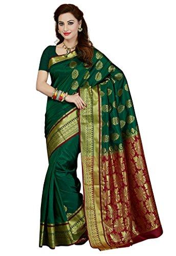 Ishin Art silk Green Gatti richpallu Woven Bollywood Women\'s Saree.