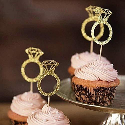 EPRHY Diamant-Ring-Cupcake-Topper 50 Stück Gold Glitter Mini Diamant Ring Kuchen Cupcake Picks für Hochzeit Verlobung Jahrestag Geburtstag Valentinstag Party Kuchen Dekoration