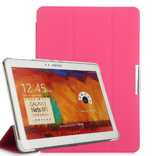 iHarbort Samsung Galaxy Note 10.1 2014 custodia in pelle, ultra sottile di peso leggero Case Cover custodia in pelle per Samsung Galaxy Note 10.1 2014 Edition Holder, con il sonno / sveglia la funzione, rosa caldo