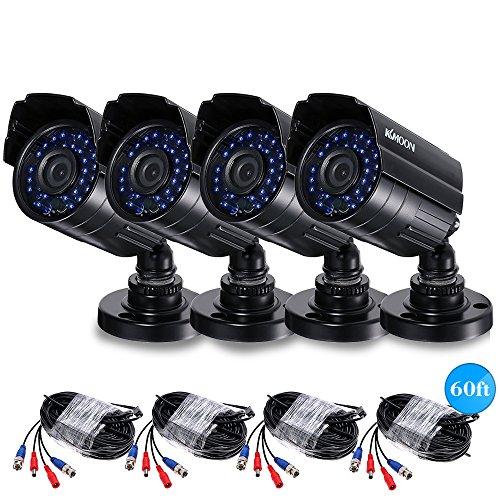 KKmoon 4 * 1080P IR CCTV-Kamera 2000TVL AHD wasserdichte + 4 * 60ft Überwachungskabel Unterstützung IR-CUT Nachtsicht 30pcs Infrarot-Lampen 1/3 '' CMOS für Haussicherheit