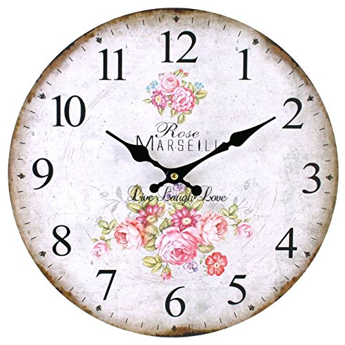 Something Different Horloge murale de cuisine Style vintage Motif roses