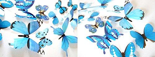 Kostüm Token Schwarz - Xuthuly 12 Stück Aufkleber Wandaufkleber Hauptdekorationen 3D Schmetterling Regenbogen