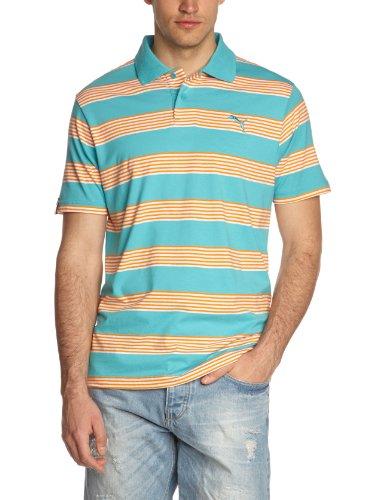 PUMA Herren T-Shirt Sportscasual Striped Polo, scuba blue-orange popsicle, L, 824004 19
