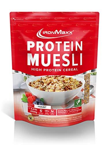 IronMaxx Protein Müsli Haselnuss – Veganes Fitness Müsli laktosefrei und glutenfrei – Eiweiß Müsli mit Haselnussgeschmack – 1 x 2 kg