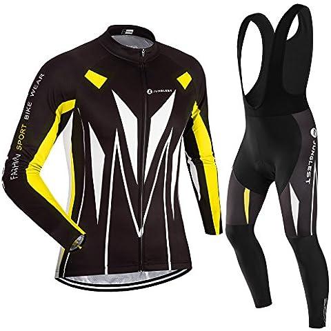 2016L [Cojín 3D][traje[tirante negro] tamaño:L] secado Respirable culotte Acolchado ciclistas ciclo al libre rápido Mangas de Jersey Pantalones larga Maillot bicicleta Cojín manga Ropa jers