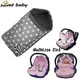 GONDOLI MultiUse 2in1 Polar Soft ** WARMER Fußsack mit WindSchutz für Bayschale und Kinderwagen ** Passend für BabyAutositz wie z.B. z.B. für Maxi Cosi Pebble/Citi/CabrioFix etc. (Grey Dots)