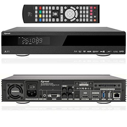 Egreat A11 - UHD 4k Android Mediaplayer mit Display und Festplatten Schacht (2 x HDMI, MKV, USB, LAN, WLAN) [Volles BD ISO Menü] Avi Mpg Converter