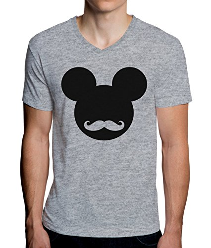 Mickey Mouse Hipster Logo Graphic Design Men's V-Neck T-Shirt Small - Mickey Mouse T-shirt Top