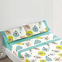 Burrito Blanco - Juego  de sábanas 405 Azul, para cama de 150 x 190/200 cm.