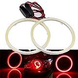 Grandview 1 paio (2 pezzi) Rosso 70MM 60 SMD COB LED Lampadina Fari Angel Eyes Halo Anello Lampada con il Riflettore, Corrente Costante 9 V-30V