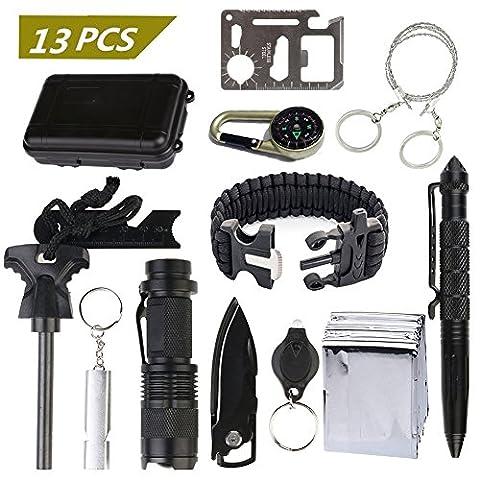 10Pcs/Set Outdoor Survival Werkzeuge gesetzt Tactical Pen/ Taschenlampe/ Feuerstein/ Maßstab/ Pfeife/ Schlüsselanhänger/ Kompass/ Werkzeuge Karten/ Schlüsselbund Licht/ Box(Survival Werkzeuge gesetzt)