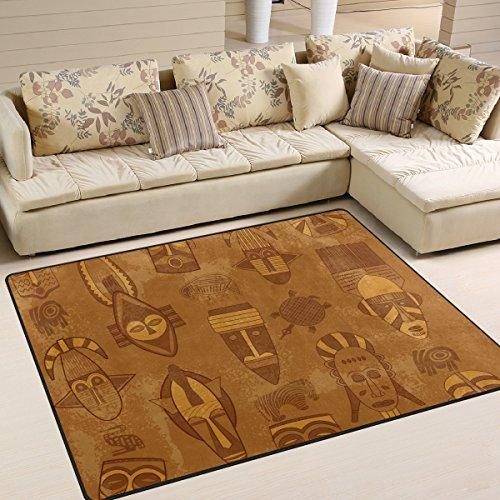 COOSUN Stammes- Maske Texture Bereich Teppich Teppich Non-Slip-Boden-Matte Fußmatten Wohnzimmer Schlafzimmer 63 x 48 Zoll 63 x 48 Zoll Multi