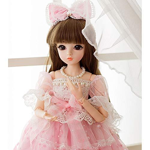 MEMIND Bjd 1/3 Puppe Gemeinsame Puppe Dress Up Exquisite Ausländische Puppe 60 cm Mädchen Spielzeug Simulation Prinzessin Anzug,Emily (Halloween Doll Makeup Barbie)