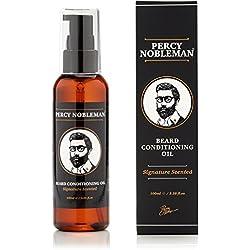 Aceite para barba de Percy Nobleman. Nueva fórmula personal y perfumada derivada en un 99% de componentes naturales. Aceite acondicionador para barba (100 ml) con una mezcla especial de ingredientes de gran calidad que suaviza y acondiciona el vello facial.