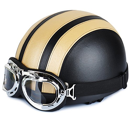 Yunshangauto® Motorrad Roller Open Face halbes Leder Helme mit UV Schutzbrille Retro Vintage Style Halbhelme 54-60cm