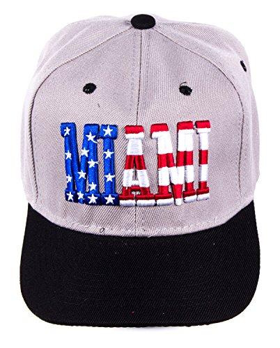 Basecap Miami MIA Baseball Cap Snapback hat Hip Hop Streetwear Schirm Mütze grau schwarz stars and stripes USA