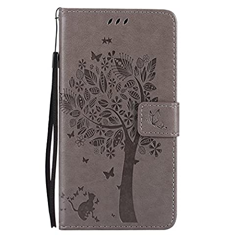 LG V20 Case Leather [Gray], Cozy Hut [Wallet Case] Premium Soft PU Leather Notebook Wallet Embossed Flower Tree Design Case with [Kickstand] Stand Function Card Holder and ID Slot Slim Flip Protective Skin Cover for LG V20/LG V20 Dual H990DS/H990N 5,7- Gray