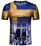 Whatlees Herren Slim Fit FIFA Fussball WM 2018 3D Druck T-Shirt Schweden - Ba0043-03 - XXL