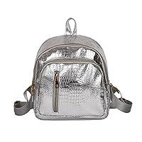 little finger Fashion Crocodile Pattern Faux Leather Shoulder Bag Backpack Women Rucksack - Silver