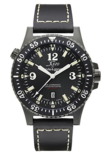 Xezo Uhr Analog mit Leder Armband AIR Commando D45-L