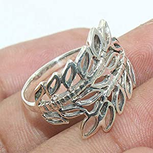 Handcrafted 925 Sterling Silver Leaf Ring Handmade Jewelry