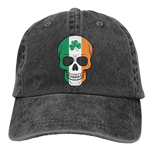 j65rwjtrhtr Men Or Women Adjustable Denim Jeans Baseball Cap Irish Skull St. Patrick's Day Plain Cap