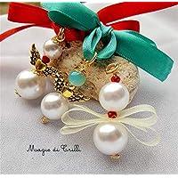 Magie di Trilli - Angeli natalizi: ciondoli artigianali angeli con perle bianche argento tibetano dorato e cristalli: regali decorazioni per Natale- 3 pezzi