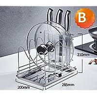 XQY Edelstahldeckel Deckel Mit Wasserschale Setzen Schneidebrett  Schneidebrett Regal Küche Liefert Lagerregale,B,Silber