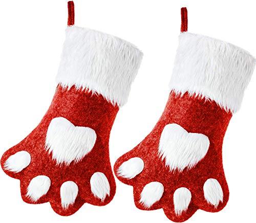 Lath.pin calza di natale set di 2 calze animali sacchetto di caramelle regalo di natalizio per feste di natale e decorazioni da caminetto carino (taglia unica, rosso*2)