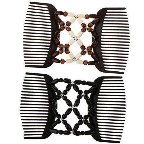 2x Stretch Doppel Haarkämme Einsteckkamm Steckkamm Haarklammer Haarspange für Damen und Mädchen
