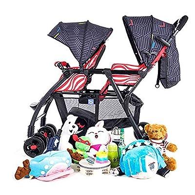 Cochecito doble plegable con una sola mano, coche portátil doble recién nacido con sistema de seguridad de 5 puntos y toldo desmontable multifunción