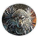 Pterygoid Collection Manta de playa de microfibra gruesa y redonda de 150 cm con patrón de...