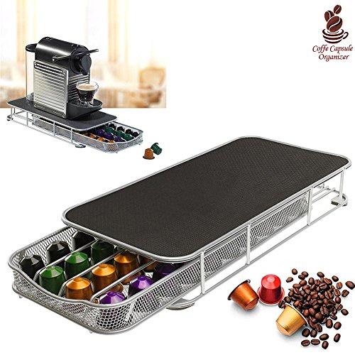 Bakaji contenitore porta capsule e cialde caffè nespresso nescafè in metallo cassetto lungo estraibile silver e top nero