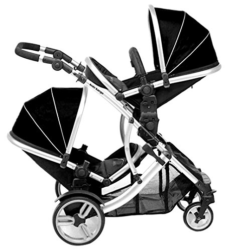Duellette 21 BS combi Double Pushchair Twin Tandem complete carrycot/converts to seat unit. Free rain covers and 2 free Black footmuffs. Midnight Black by Kids Kargo Kids Kargo Demo video please see link https://www.youtube.com/watch?v=5L8eKWGqoso Various seat positions. Accommodates 1 or 2 car seats Carrycot converts to seat unit incl mattress. Toddler seat from 6 months 8